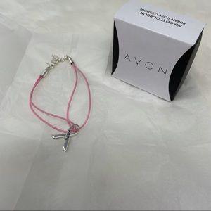 NIB Avon Pink hope ribbon cord bracelet